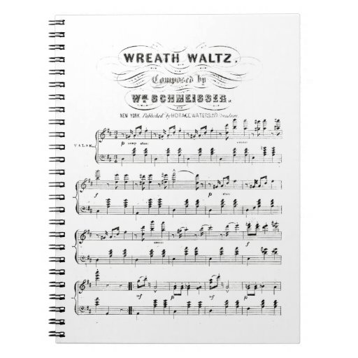 Retro staves of sheet music notes (vintage waltz) note books