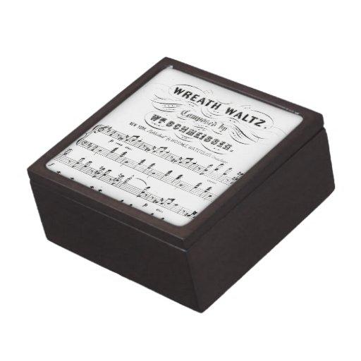 Retro staves of sheet music notes (vintage waltz) premium trinket box