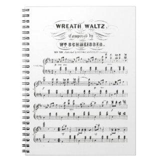 Retro staves of sheet music notes (vintage waltz) spiral notebook