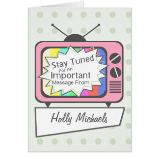 Retro Stay Tuned.....Pink TV Set Card