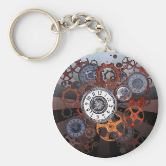 Retro steampunk watch parts, gears and cogs print basic round button keychain