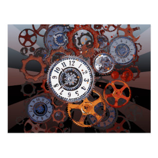Retro steampunk watch parts, gears and cogs print postcard
