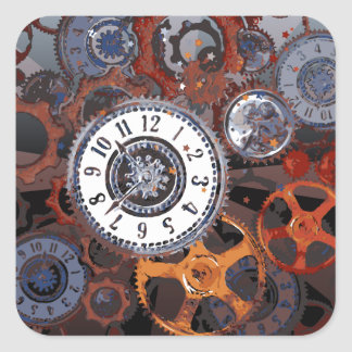 Retro steampunk watch parts, gears and cogs print square sticker