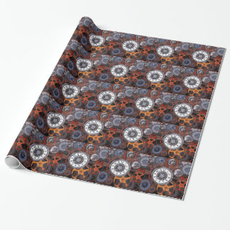 Retro steampunk watch parts, gears and cogs print wrapping paper