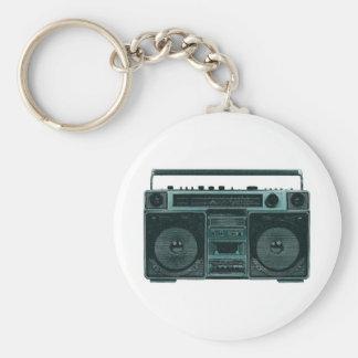 retro stereo basic round button keychain