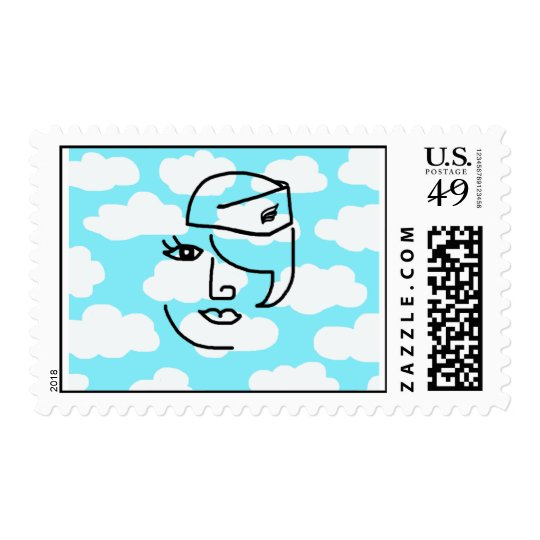 Retro Stewardess Face in the Sky Postage Stamp