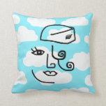 Retro Stewardess Face Throw Pillow