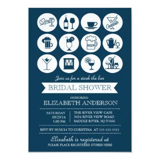 """Retro Stock the Bar Bridal Shower Invitation 5"""" X 7"""" Invitation Card"""