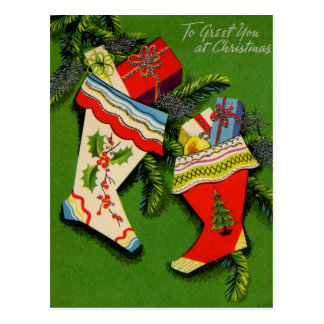Retro STockings Full of Gifts Postcard