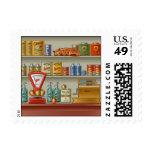 Retro Store Postage Stamp