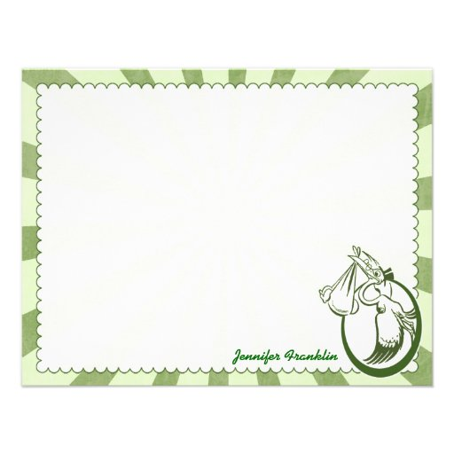 Retro Stork Personalized Flat Note Cards
