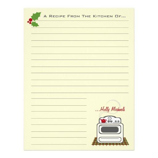 Retro Stove Christmas Kitchen Recipe Paper Customized Letterhead