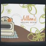 """Retro Stove / Modern Kitchen Recipe Book Binder<br><div class=""""desc"""">A recipe binder featuring an illustration of a beige retro inspired stove covering portions of spine, front, and back. Stove sitting on a blue floor. Orange pot on stove. Steam from pot swirls onto front of binder. Background of bottom portion of binder is brown. Green flower designs cover binder. Personalize...</div>"""