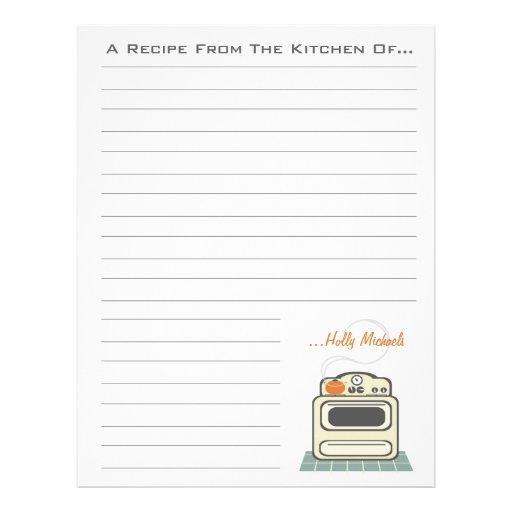 Retro Stove Modern Kitchen Recipe Paper Customized Letterhead