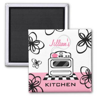 Retro Stove Modern Pink & Black Kitchen Magnet