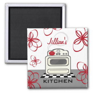 Retro Stove Modern Red & Black Kitchen Magnet