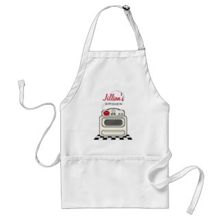 Retro Stove / Modern Red Kitchen Personalized Adult Apron