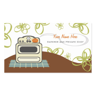 Retro Stove Orange & Blue Kitchen Caterer / Chef Double-Sided Standard Business Cards (Pack Of 100)