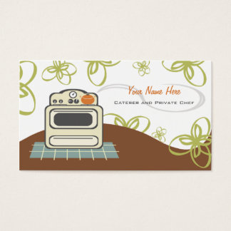 Retro Stove Orange & Blue Kitchen Caterer / Chef Business Card