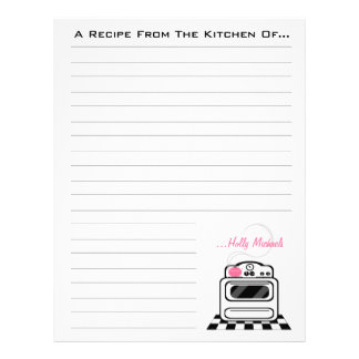 Retro Stove Pink Kitchen Recipe Paper