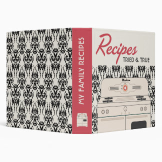 Retro Stove Recipe (red ivory) 3 Ring Binder
