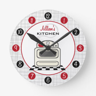 Retro Stove Red & Black Kitchen Clock
