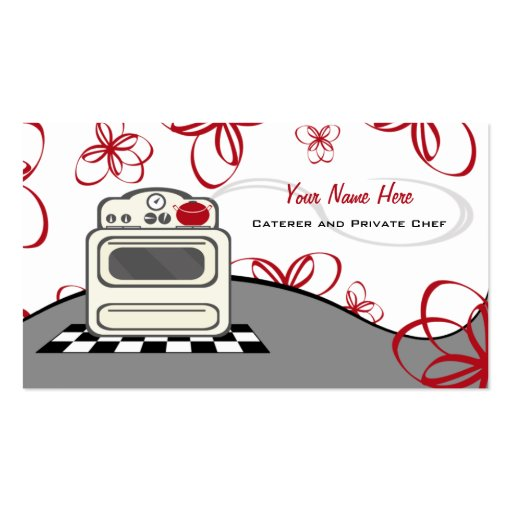 Retro Stove Red Kitchen Caterer / Chef Business Card