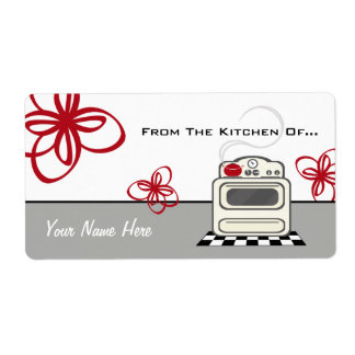 Retro Stove Red Kitchen From The Kitchen Of... Shipping Label