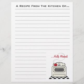 Retro Stove Red Kitchen Recipe Paper