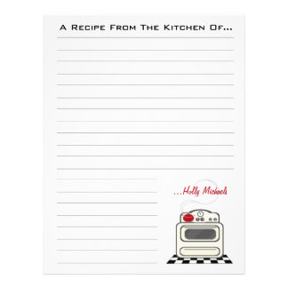 Retro Stove Red Kitchen Recipe Paper