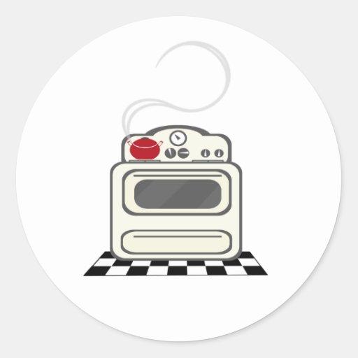 Retro Stove Red Pot Sticker