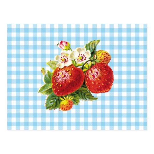 Retro Strawberry Postcard