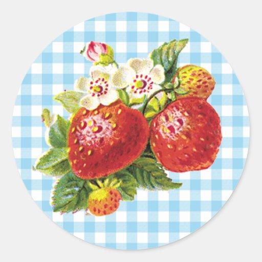 Retro Strawberry Round Sticker