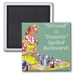 "Retro ""Stressed is Desserts spelled backwards"" Mag 2 Inch Square Magnet"