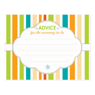 Retro Stripe Baby Shower Advice for Mommy to Be Postcard