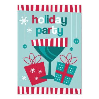 Retro Stripe Custom Holiday Invitation