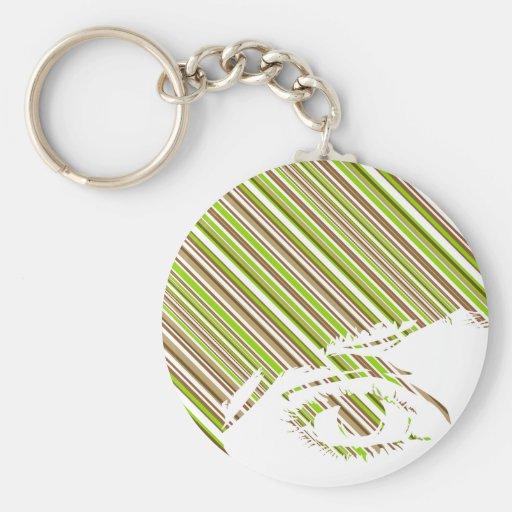 Retro Stripe Girls Face Keychain