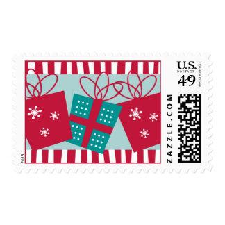 Retro Stripe Holiday Postage