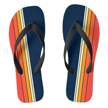 Beach Themed Retro Stripe in Navy Flip Flops