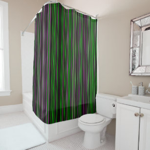 Retro Stripe Lime Green Purple Shower Curtain