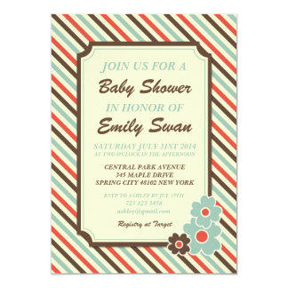 Retro Stripe Pattern Baby Shower Invitation Card
