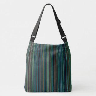 Retro stripe purple green blue brown shoulder bag