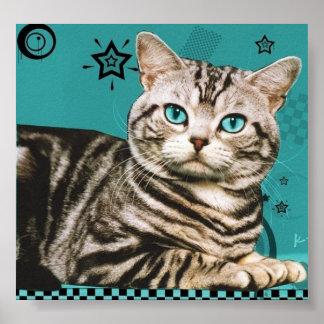 retro striped cat poster