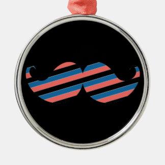 Retro Striped Handlebar Mustache Christmas Ornaments
