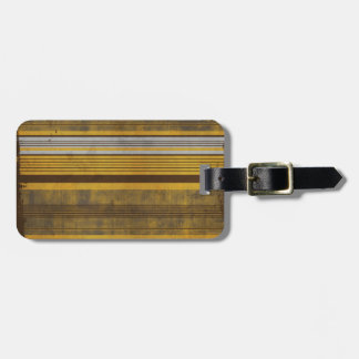 RETRO STRIPES 101 YELLOW BROWN PATTERNS BACKGROUND LUGGAGE TAG