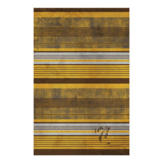 RETRO STRIPES 101 YELLOW BROWN PATTERNS BACKGROUND STATIONERY