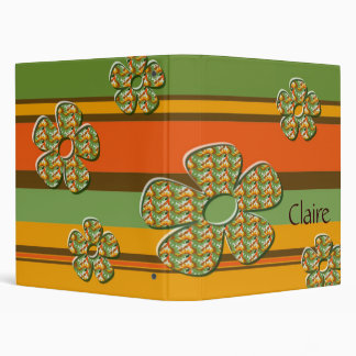Retro Stripes and Flowers 3 Ring Binder
