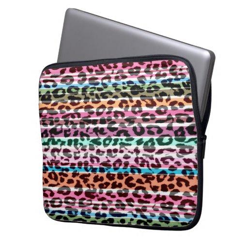 Retro stripes animal print fur of leopard laptop computer sleeves