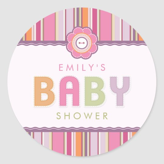 Retro Stripes Buttons Baby Shower stickers