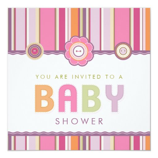 "Retro Stripes Buttons Pink Baby Shower invitation 5.25"" Square Invitation Card"
